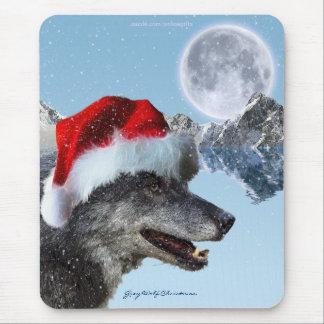 Grey Wolf Winter Snow-fall Christmas Mousepad
