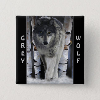 Grey Wolf & Winter Snow Wildlife-supporter Pinback Button