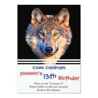 Grey wolf - wolf face card