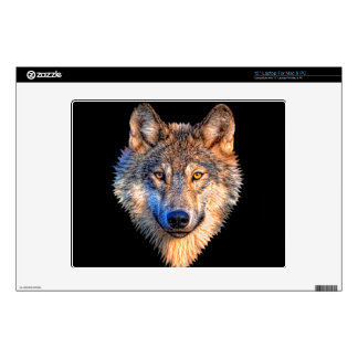 Grey wolf - wolf face laptop skin