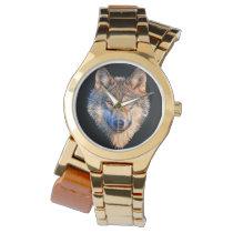 Grey wolf - wolf face wristwatch