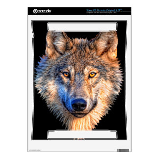 Grey wolf - wolf face xbox 360 console decals