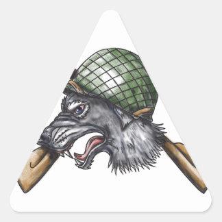 Grey Wolf WW2 Helmet Crossed Rifles Tattoo Triangle Sticker