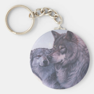 Grey wolves key chain