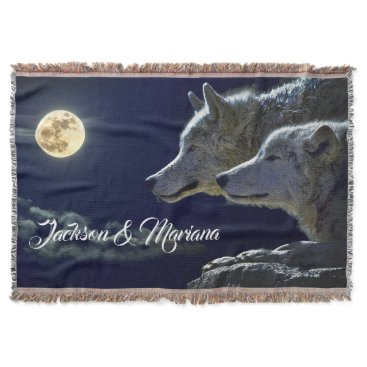 USA Themed Grey Wolves Under a Full Moon Throw Blanket
