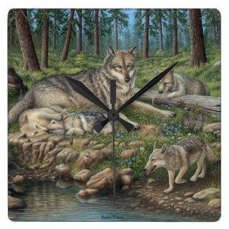 Grey Wolves Wall Clock