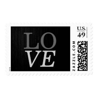 Grey Wood Background Love Wedding Stamp