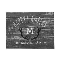 Grey Wood Deer Antlers Family Name Happy Campers Doormat