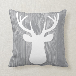 Grey Wood Deer Pillow