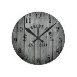 Grey Wood Farmhouse Family Name Round Clock