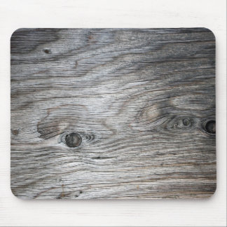 Grey Wood Grain Look with Knots Mouse Pad