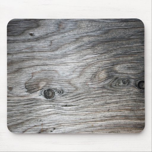 Grey Wood Grain Look with Knots Mouse Pads