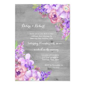 Grey Wood Lilac Purple Flowers Vow Renewal Card