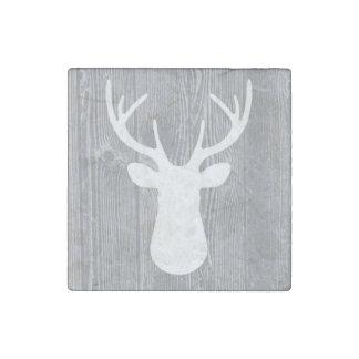 Grey Wood Pattern White Deer Head Magnet