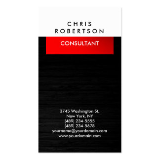 Grey Wood Pattern White Red Business Card