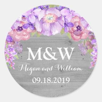 Grey Wood Purple Lilac Floral Monogram Wedding Tag