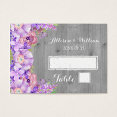 Grey Wood Purple Lilac Floral Place Setting Cards at Zazzle