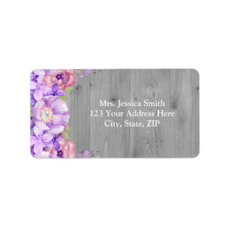 Grey Wood Purple Lilac Floral Return Address Label