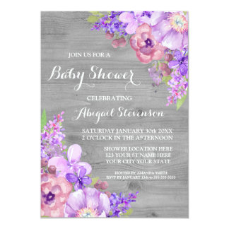 Grey Wood Purple Watercolor Flowers Baby Shower Card