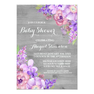 Toddler & Baby themed Grey Wood Purple Watercolor Flowers Baby Shower Card