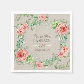 Grey Wood Reception Decor Bridal Shower Wreath Paper Napkin