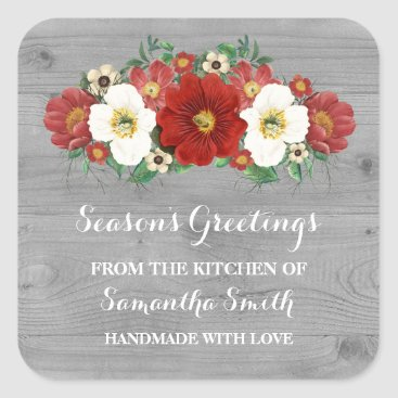 Christmas Themed Grey Wood Red Floral Christmas Baking Sticker