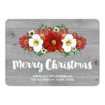 Professional Business Grey Wood Red Floral Christmas Cards Business