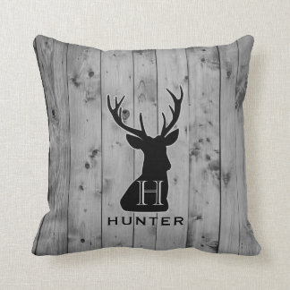 Grey Wood Rustic Deer Monogram Gray Throw Pillow