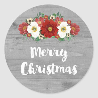 Grey Wood Vintage Red Floral Merry Christmas Classic Round Sticker