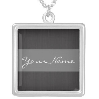 Grey & Woodgrain Customizable Name Necklace
