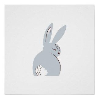 Grey Woodland Rabbit Poster