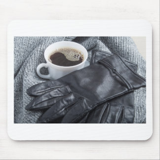 Grey wool scarf and leather gloves mouse pad