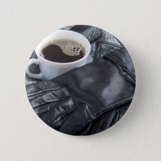 Grey wool scarf and leather gloves pinback button