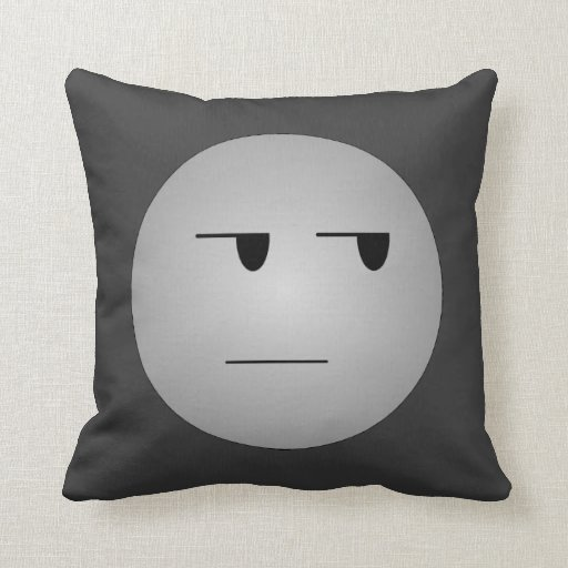 Grey Yeah Right Smiley Throw Pillow