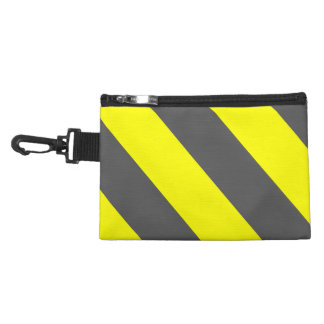 Grey Yellow Attention Warning Stripes Accessory Bag