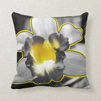 Grey Yellow Black White Orchid Throw Pillow