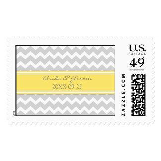 Grey Yellow Chevron Bride and Groom Wedding Stamps