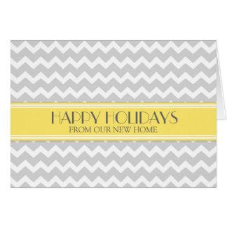 Grey Yellow Chevron Christmas New Address Card