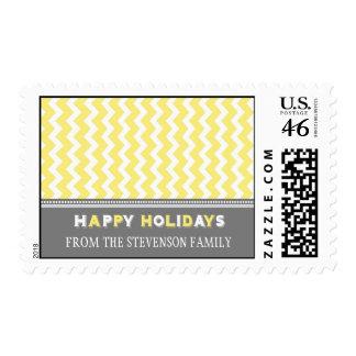 Grey Yellow Chevron Custom Name Christmas Stamps