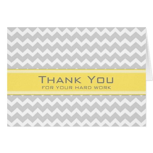 Grey Yellow Chevron Employee Anniversary Card