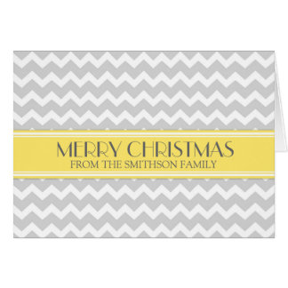 Grey Yellow Chevron Merry Christmas Card