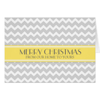 Grey Yellow Chevron Merry Christmas From Family Greeting Cards