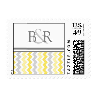 Grey Yellow Chevron Monogram Wedding Stamps
