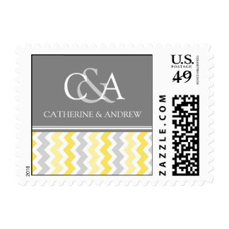 Grey Yellow Chevron Monogram Wedding Stamps