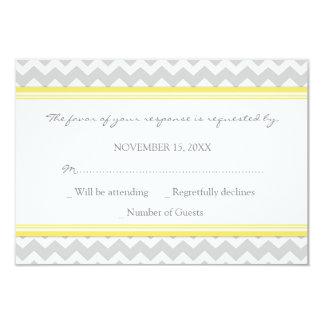 Grey Yellow Chevron RSVP Wedding Card Custom Invite