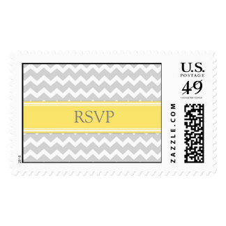 Grey Yellow Chevron RSVP  Wedding Stamps