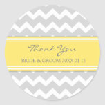 Grey Yellow Chevron Thank You Wedding Favor Tags
