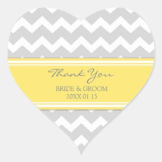 Grey Yellow Chevron Thank You Wedding Favor Tags Heart Sticker