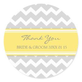 Grey Yellow Chevron Thank You Wedding Favor Tags Round Stickers