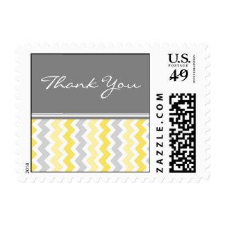 Grey Yellow Chevron Thank You  Wedding Stamps